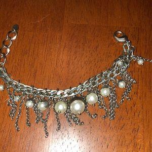 Sparkling Sage Silver Plated Faux Pearl Bracelet